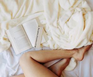 bed, book, and comfy image