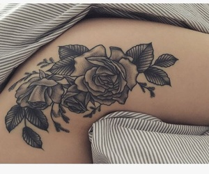 flower, ink, and roses image