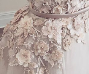 dress, flowers, and haute couture image