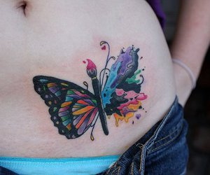 butterfly, painting, and tattoo image