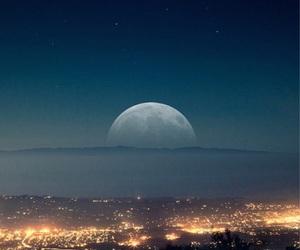 city lights, moon, and night image