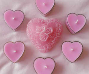 candle, pink, and heart image