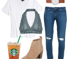 casual, starbucks, and ootd image
