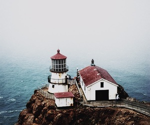 sea, ocean, and lighthouse image