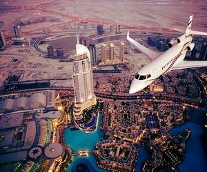 city, Dubai, and plane image