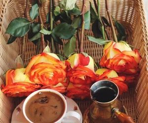 coffee, flowers, and roses image