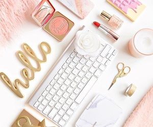 desk, girly, and pink image