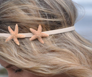 hair, starfish, and blonde image