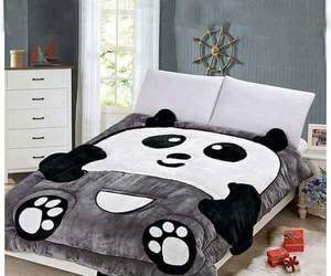 bed, panda, and child image