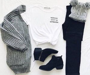 outfit, shoes, and black image