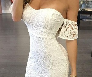 beach, dress, and lace image