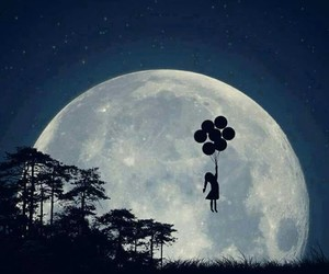 moon, art, and balloons image
