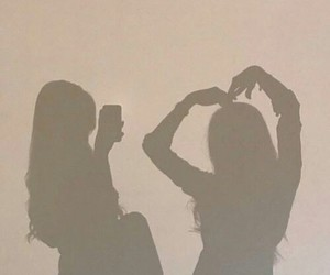 girl, shadow, and friends image
