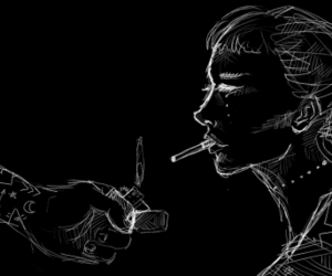 art, girl, and cigarette image