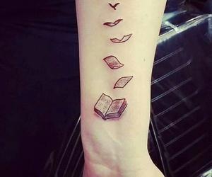 tattoo, book, and bird image