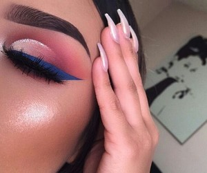 blue, eyebrows, and cosmetics image