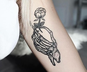 flower, hand, and skeleton image