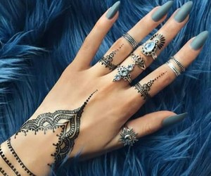 nails, blue, and henna image