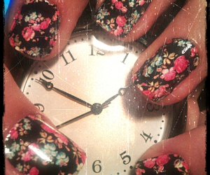 clock, flowers, and nail art image