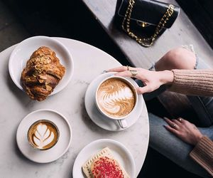 breakfast, chanel bag, and croissant image