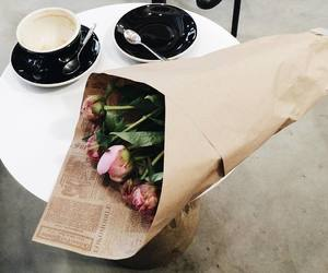 coffee, flowers, and Sunday image