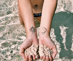 beach, moon, and sand image
