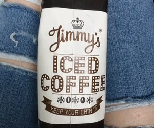 iced coffee, ripped jeans, and style image
