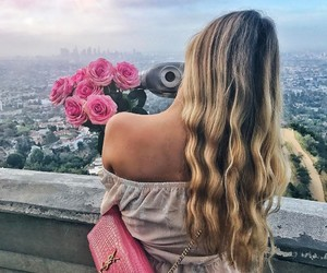 fashion, blonde, and flowers image