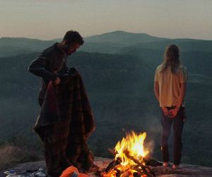 couple, fire, and mountains image