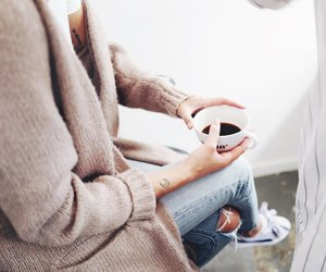 coffee, jeans, and outfit image