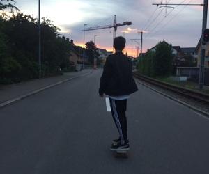 boy, skateboard, and street image