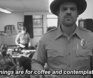 coffee, stranger things, and morning image