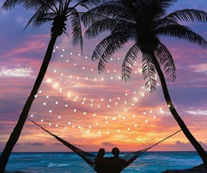 sunset, beach, and couple image