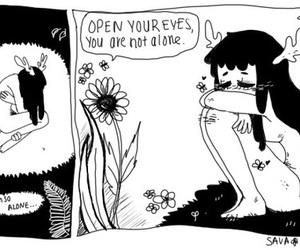 alone, flowers, and sad image