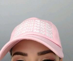 pink, eyebrows, and makeup image