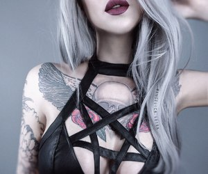 color hair, gray hair, and red lips image