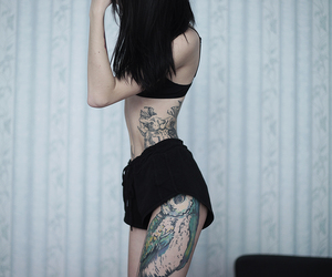 feet, tatted, and black tattoo image
