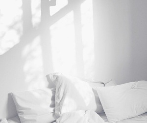 white, bed, and minimalism image