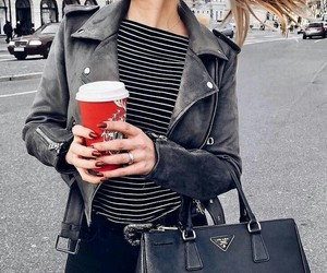 blonde, red+nails, and black leather jacket image