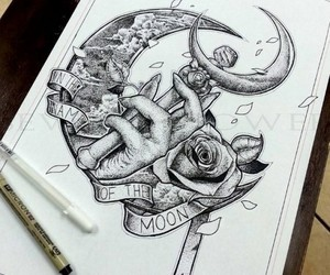 art, illustration, and moon image