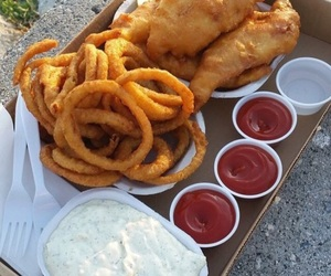 food, Chicken, and onion rings image