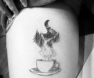 art, tattoo, and tea image