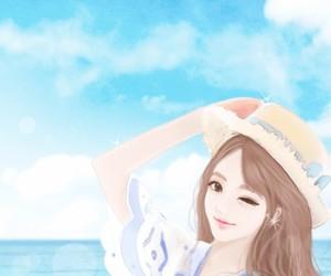 beach, KOREANS, and blue image