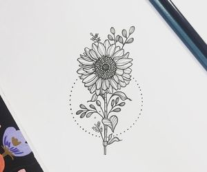 drawing, tattoo, and flower image