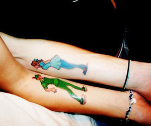 blue, peter pan, and tattoo image