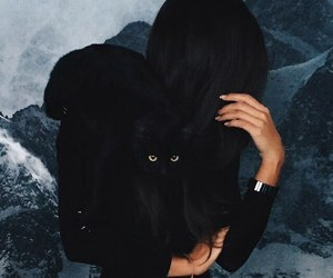 cat and brunette image
