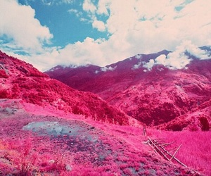 pink, mountains, and blue image