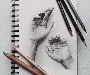 drawing, art, and hands image
