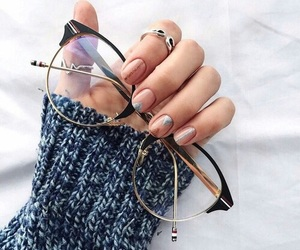 nails, glasses, and fashion image