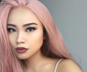 beauty, makeup, and pink hair image
